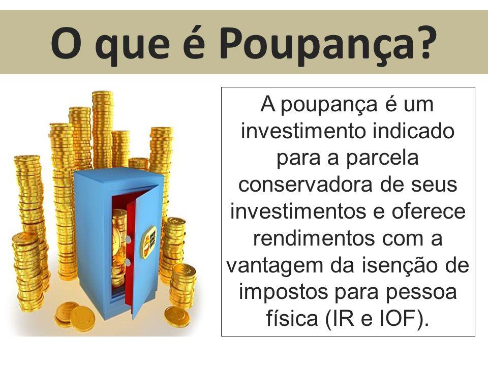 A poupança é um investimento indicado para a parcela conservadora de seus investimentos e oferece rendimentos com a vantagem da isenção de impostos pa