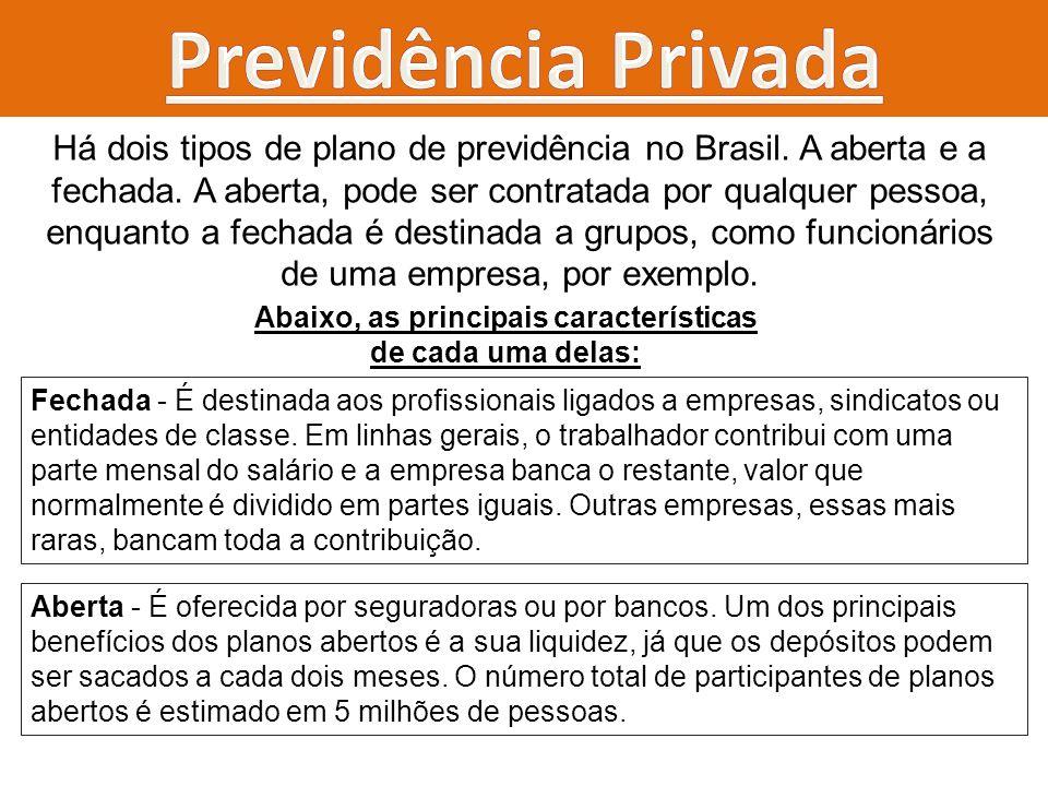 Há dois tipos de plano de previdência no Brasil. A aberta e a fechada. A aberta, pode ser contratada por qualquer pessoa, enquanto a fechada é destina
