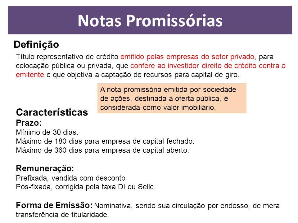 Definição Título representativo de crédito emitido pelas empresas do setor privado, para colocação pública ou privada, que confere ao investidor direi