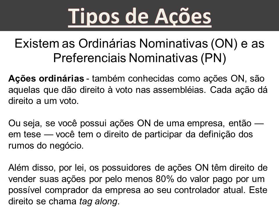 Existem as Ordinárias Nominativas (ON) e as Preferenciais Nominativas (PN) Ações ordinárias - também conhecidas como ações ON, são aquelas que dão dir