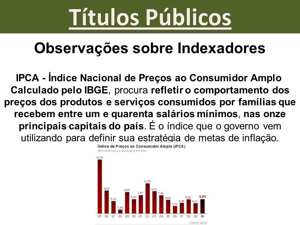 Observações sobre Indexadores IPCA - Índice Nacional de Preços ao Consumidor Amplo Calculado pelo IBGE, procura refletir o comportamento dos preços do
