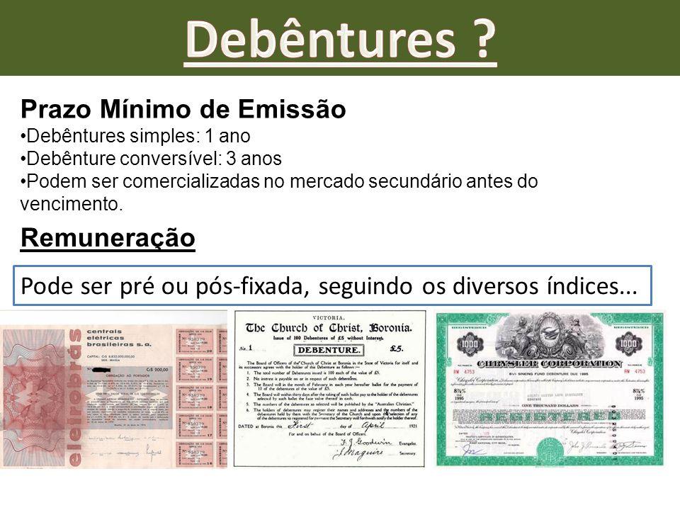 Prazo Mínimo de Emissão Debêntures simples: 1 ano Debênture conversível: 3 anos Podem ser comercializadas no mercado secundário antes do vencimento. R