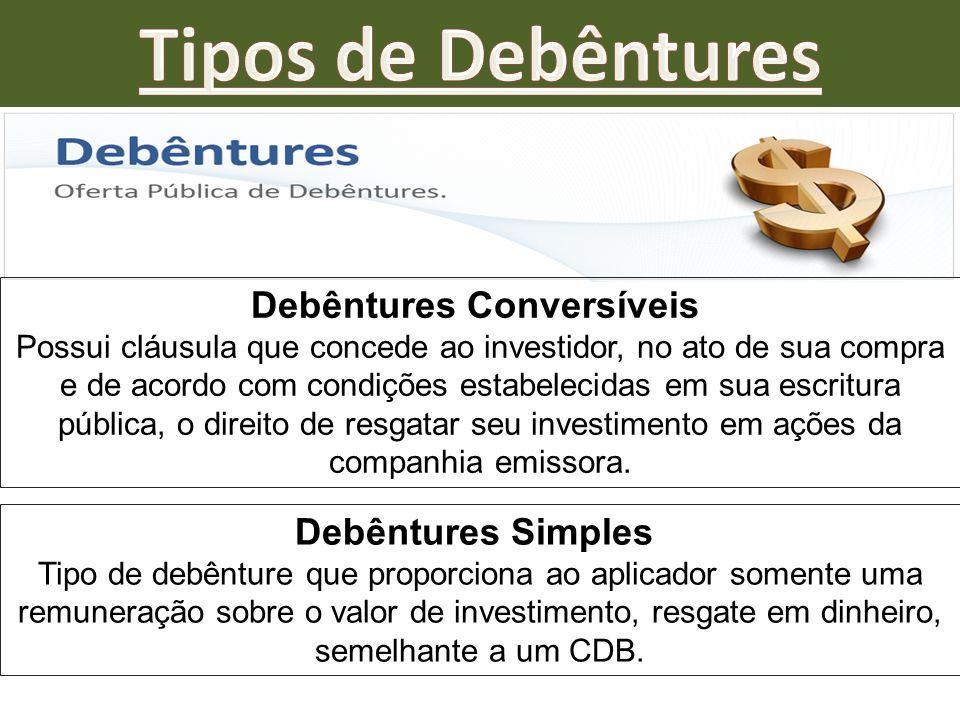 Debêntures Conversíveis Possui cláusula que concede ao investidor, no ato de sua compra e de acordo com condições estabelecidas em sua escritura públi