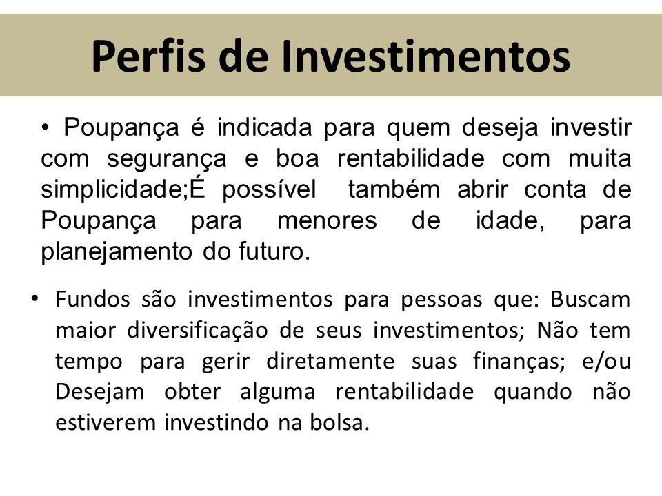 Perfis de Investimentos Fundos são investimentos para pessoas que: Buscam maior diversificação de seus investimentos; Não tem tempo para gerir diretam