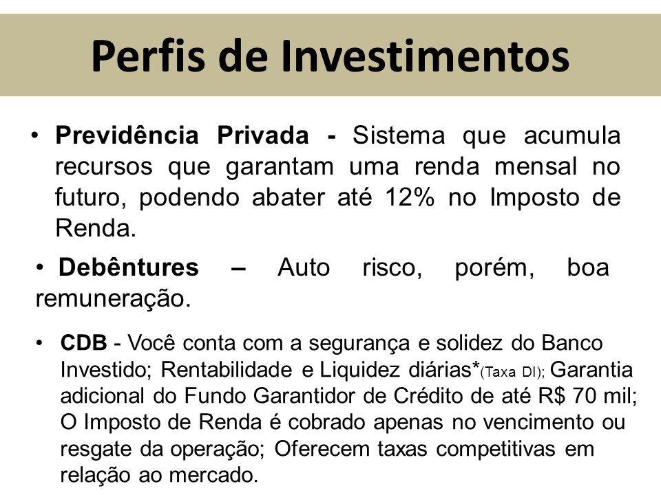 Perfis de Investimentos Previdência Privada - Sistema que acumula recursos que garantam uma renda mensal no futuro, podendo abater até 12% no Imposto