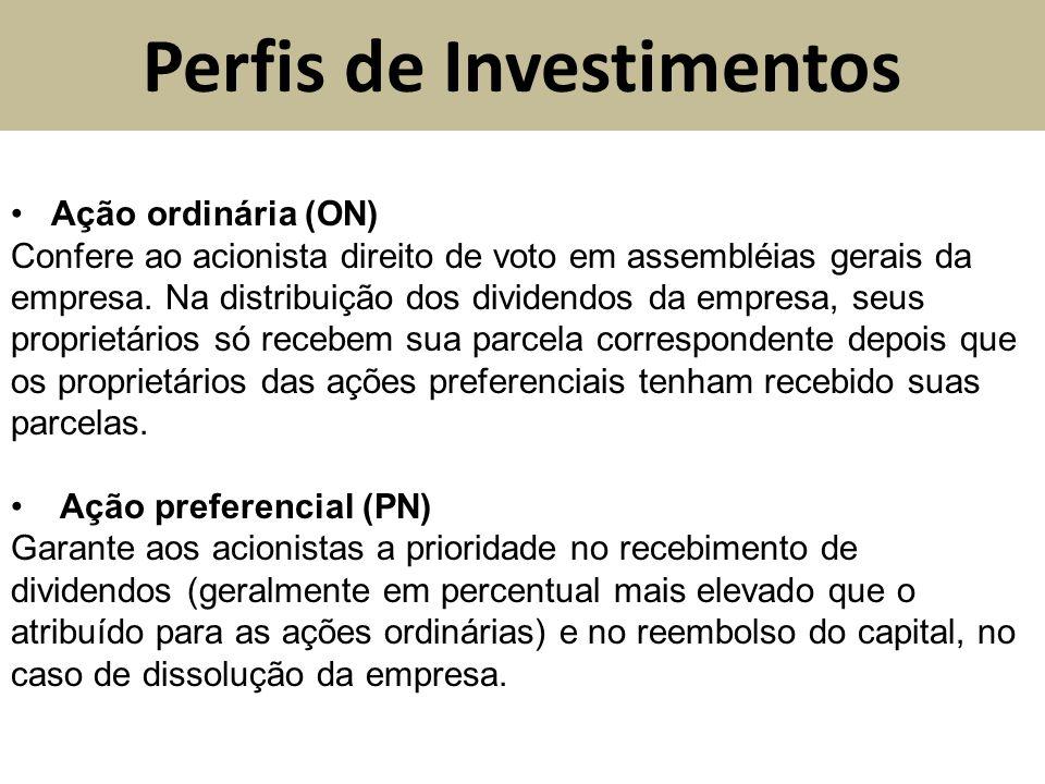 Perfis de Investimentos Ação ordinária (ON) Confere ao acionista direito de voto em assembléias gerais da empresa. Na distribuição dos dividendos da e