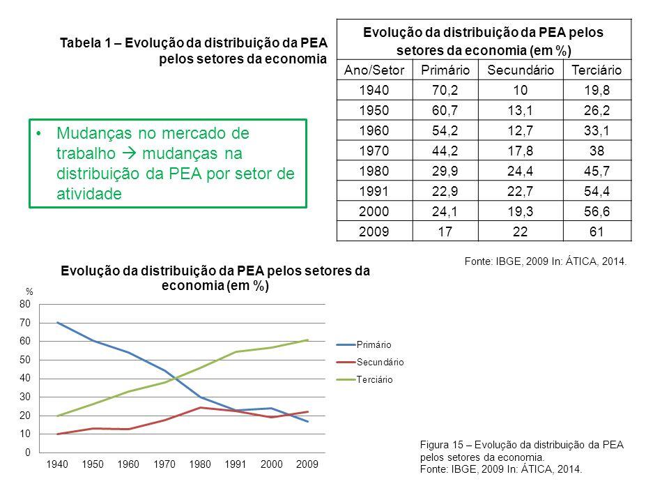 Mudanças no mercado de trabalho mudanças na distribuição da PEA por setor de atividade Figura 15 – Evolução da distribuição da PEA pelos setores da ec