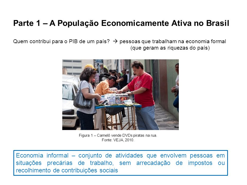 Parte 1 – A População Economicamente Ativa no Brasil Infraestrutura? Quem contribui para o PIB de um país? pessoas que trabalham na economia formal (q