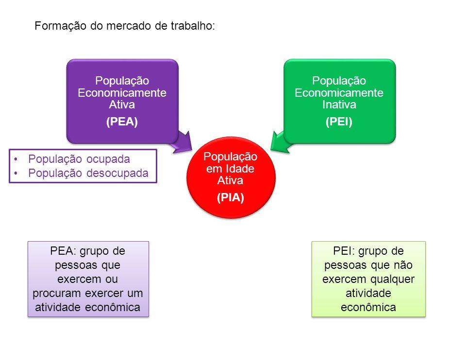 População em Idade Ativa (PIA) População Economicamente Ativa (PEA) População Economicamente Inativa (PEI) População ocupada População desocupada PEA: