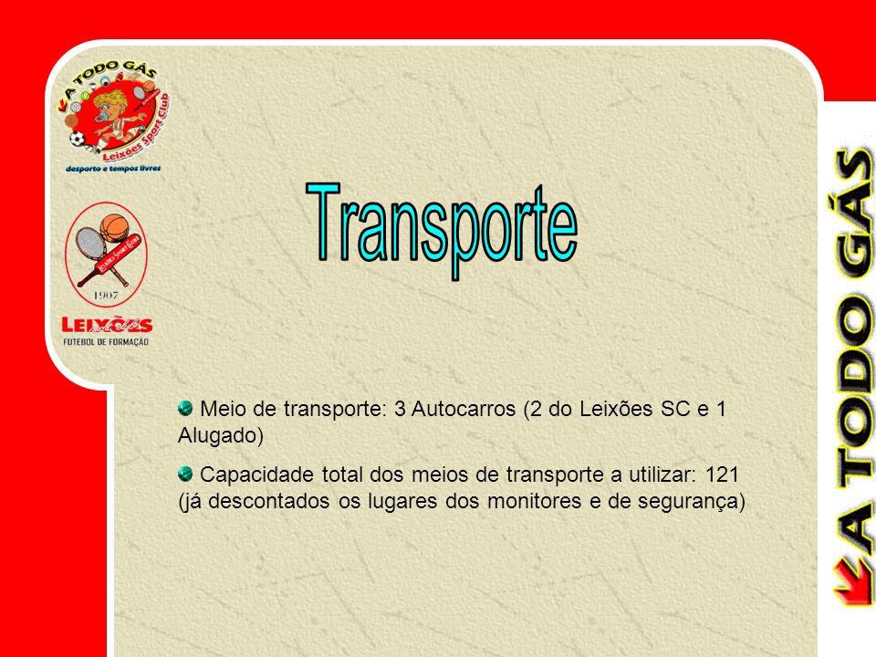 Meio de transporte: 3 Autocarros (2 do Leixões SC e 1 Alugado) Capacidade total dos meios de transporte a utilizar: 121 (já descontados os lugares dos monitores e de segurança)
