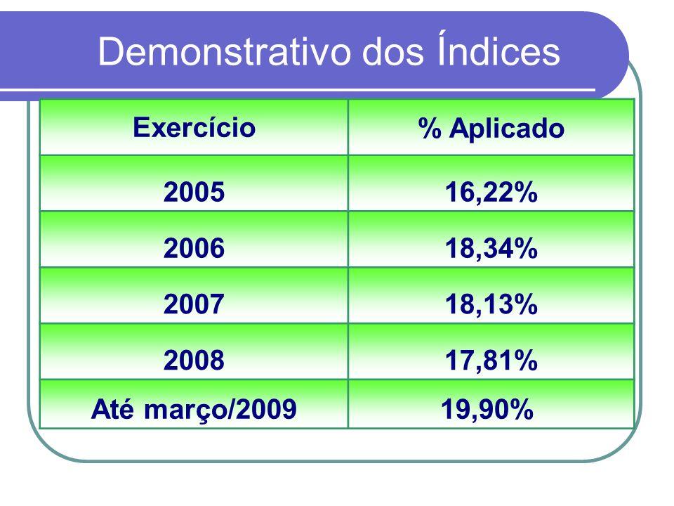 Demonstrativo dos Índices Exercício% Aplicado 200516,22% 200618,34% 200718,13% 200817,81% Até março/200919,90%