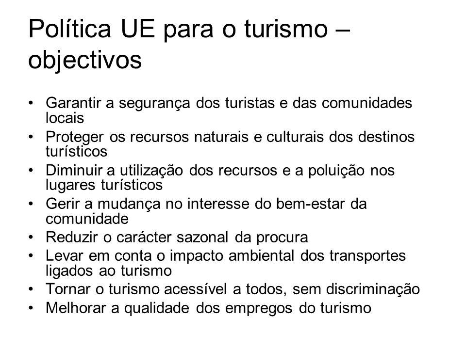 Política UE para o turismo – objectivos Garantir a segurança dos turistas e das comunidades locais Proteger os recursos naturais e culturais dos desti