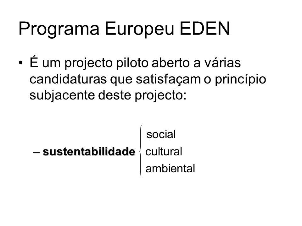 Programa Europeu EDEN É um projecto piloto aberto a várias candidaturas que satisfaçam o princípio subjacente deste projecto: social –sustentabilidade