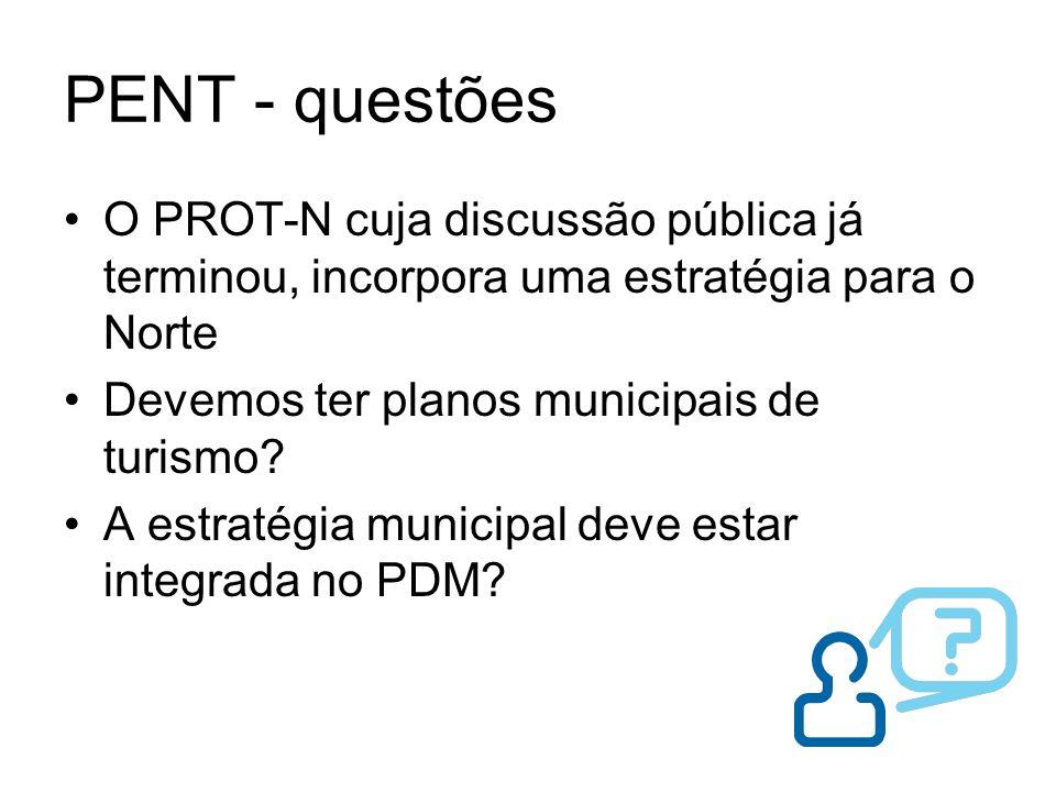 PENT - questões O PROT-N cuja discussão pública já terminou, incorpora uma estratégia para o Norte Devemos ter planos municipais de turismo? A estraté