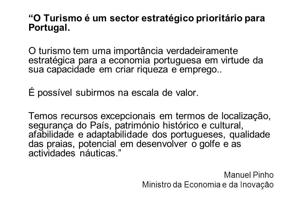 O Turismo é um sector estratégico prioritário para Portugal. O turismo tem uma importância verdadeiramente estratégica para a economia portuguesa em v