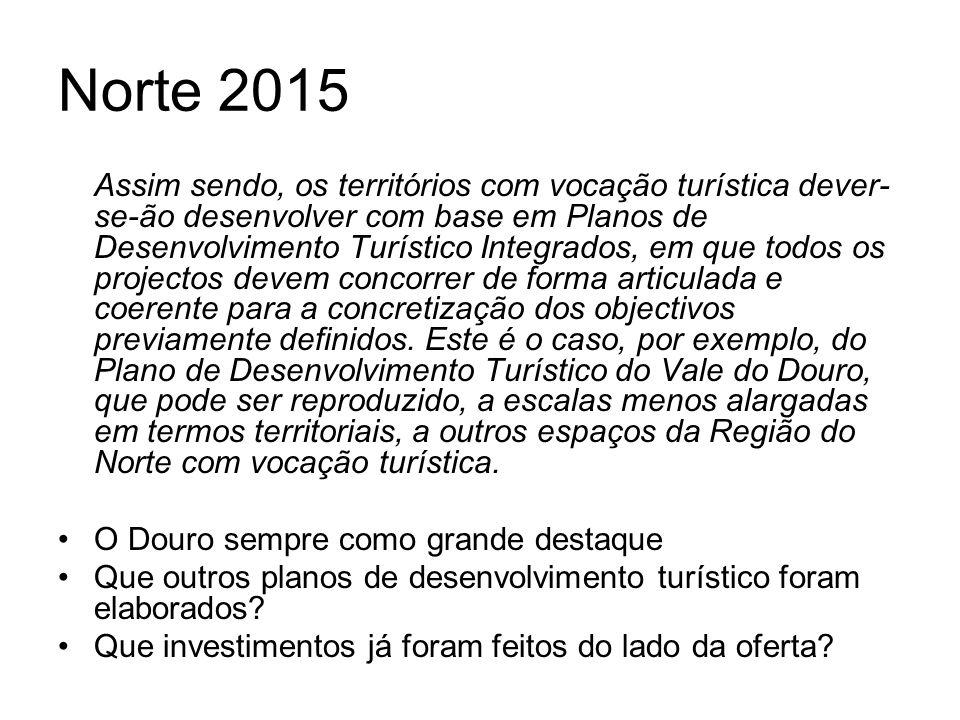 Norte 2015 Assim sendo, os territórios com vocação turística dever- se-ão desenvolver com base em Planos de Desenvolvimento Turístico Integrados, em q