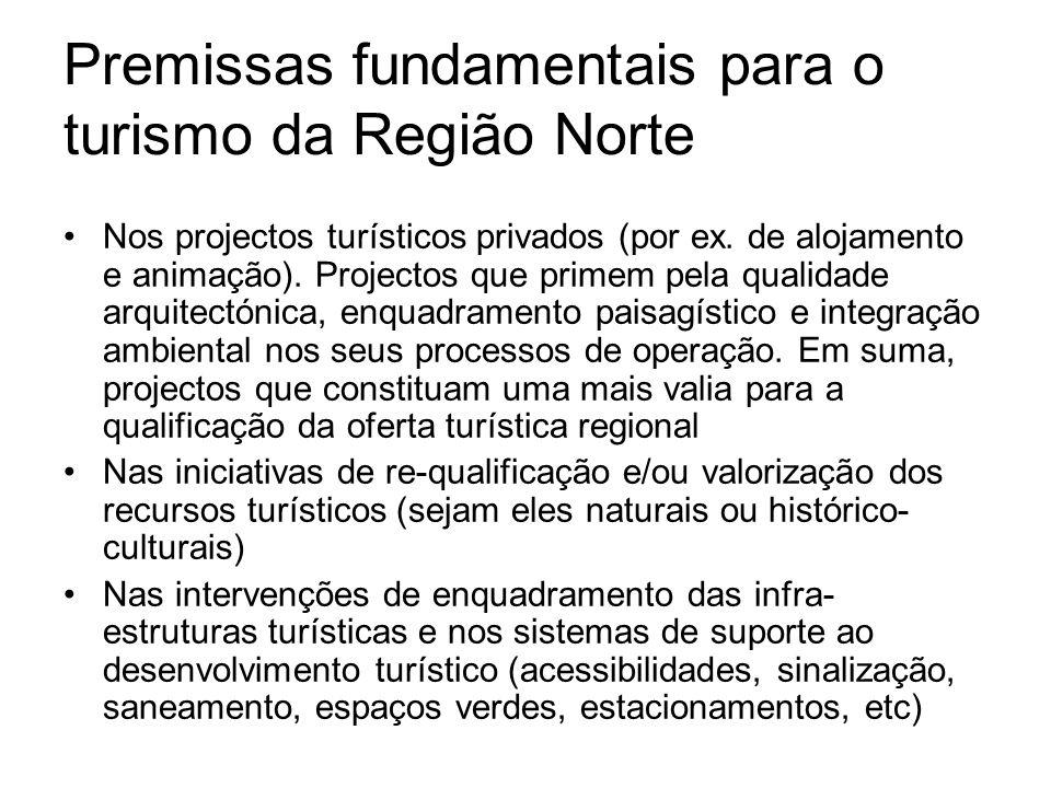 Premissas fundamentais para o turismo da Região Norte Nos projectos turísticos privados (por ex. de alojamento e animação). Projectos que primem pela
