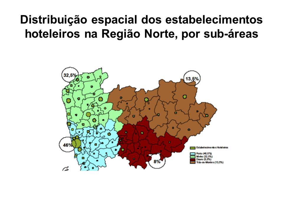 Distribuição espacial dos estabelecimentos hoteleiros na Região Norte, por sub-áreas