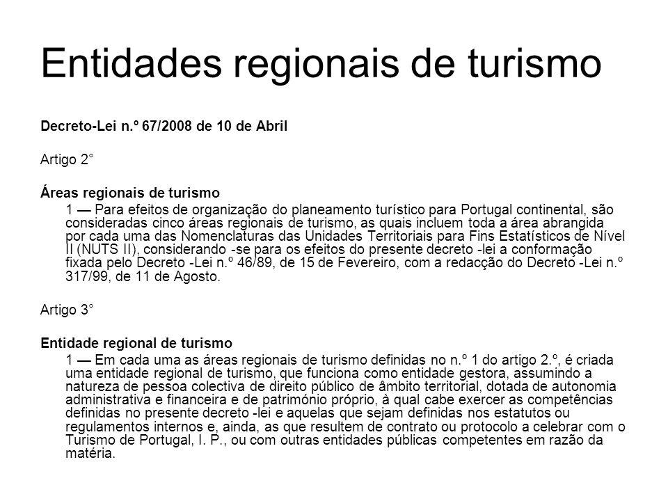 Entidades regionais de turismo Decreto-Lei n.º 67/2008 de 10 de Abril Artigo 2° Áreas regionais de turismo 1 Para efeitos de organização do planeament