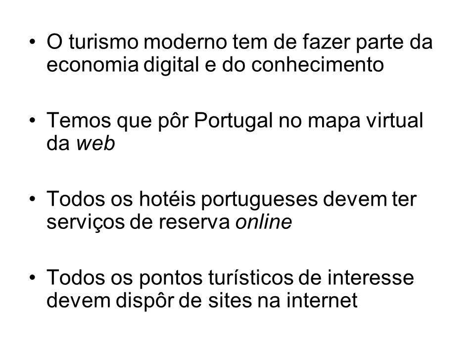 O turismo moderno tem de fazer parte da economia digital e do conhecimento Temos que pôr Portugal no mapa virtual da web Todos os hotéis portugueses d