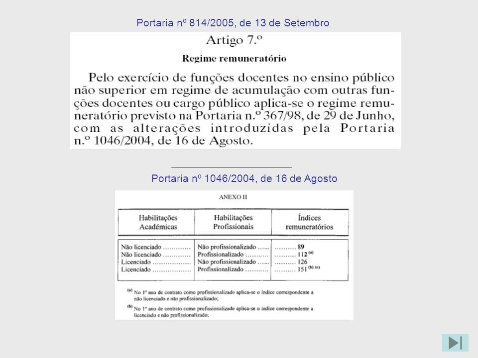Portaria nº 814/2005, de 13 de Setembro Portaria nº 1046/2004, de 16 de Agosto
