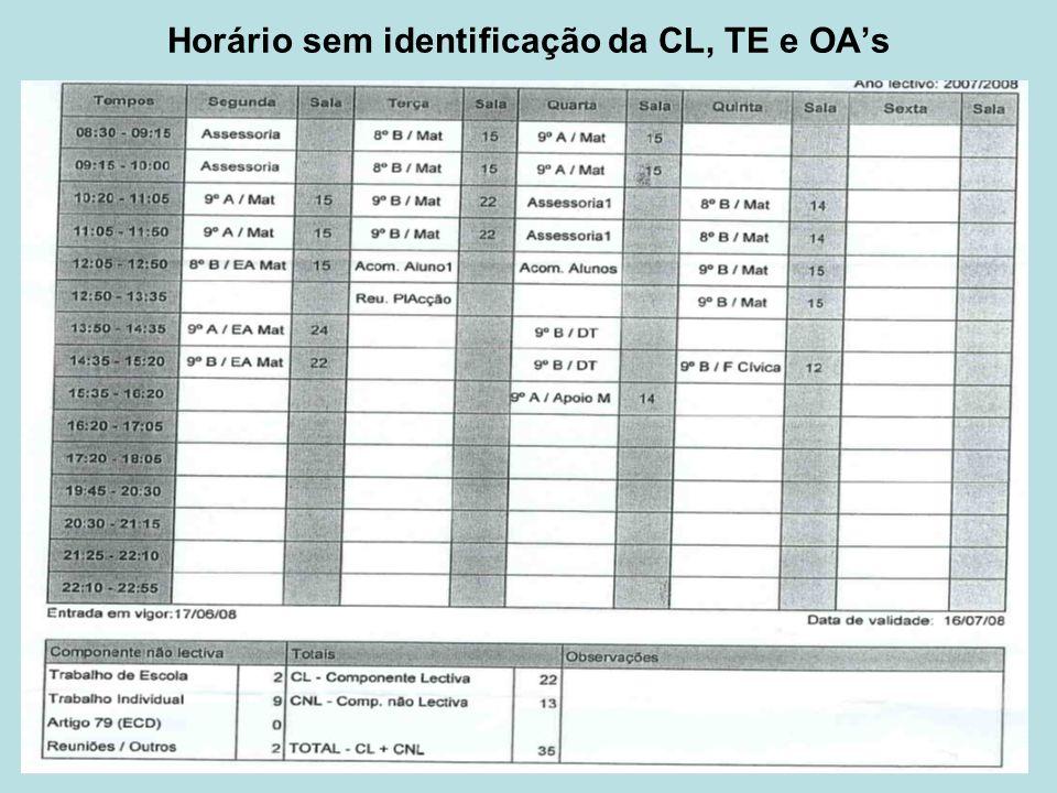 Horário sem identificação da CL, TE e OAs