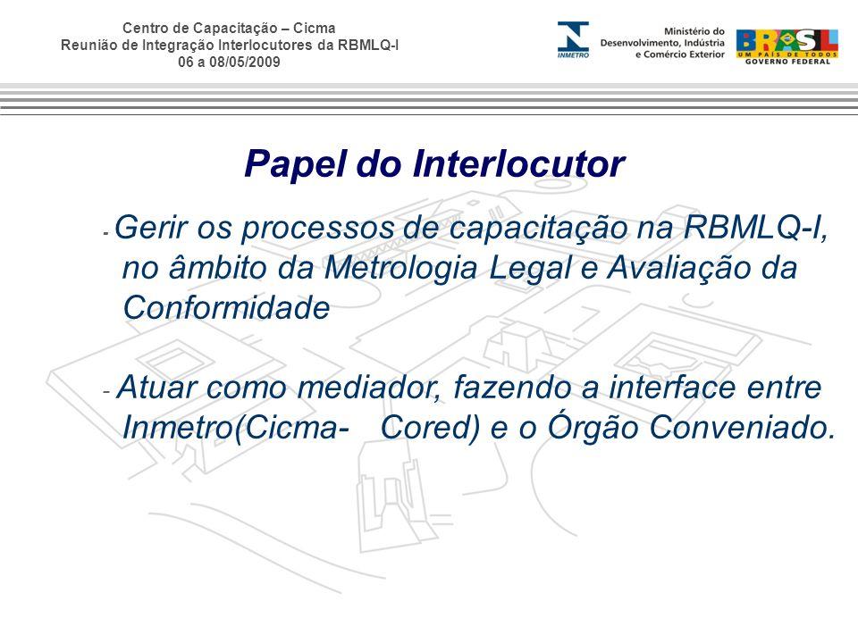 Centro de Capacitação – Cicma Reunião de Integração Interlocutores da RBMLQ-I 06 a 08/05/2009 Papel do Interlocutor - Gerir os processos de capacitaçã
