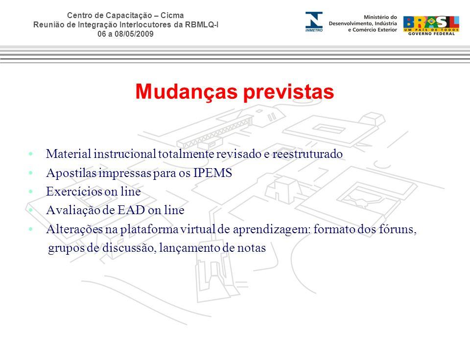 Centro de Capacitação – Cicma Reunião de Integração Interlocutores da RBMLQ-I 06 a 08/05/2009 Mudanças previstas Material instrucional totalmente revi