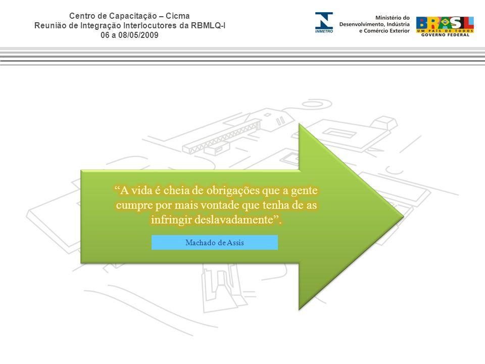 Centro de Capacitação – Cicma Reunião de Integração Interlocutores da RBMLQ-I 06 a 08/05/2009 Machado de Assis