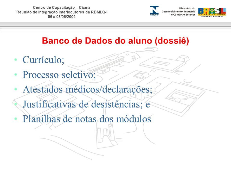 Centro de Capacitação – Cicma Reunião de Integração Interlocutores da RBMLQ-I 06 a 08/05/2009 Banco de Dados do aluno (dossiê) Currículo; Processo sel
