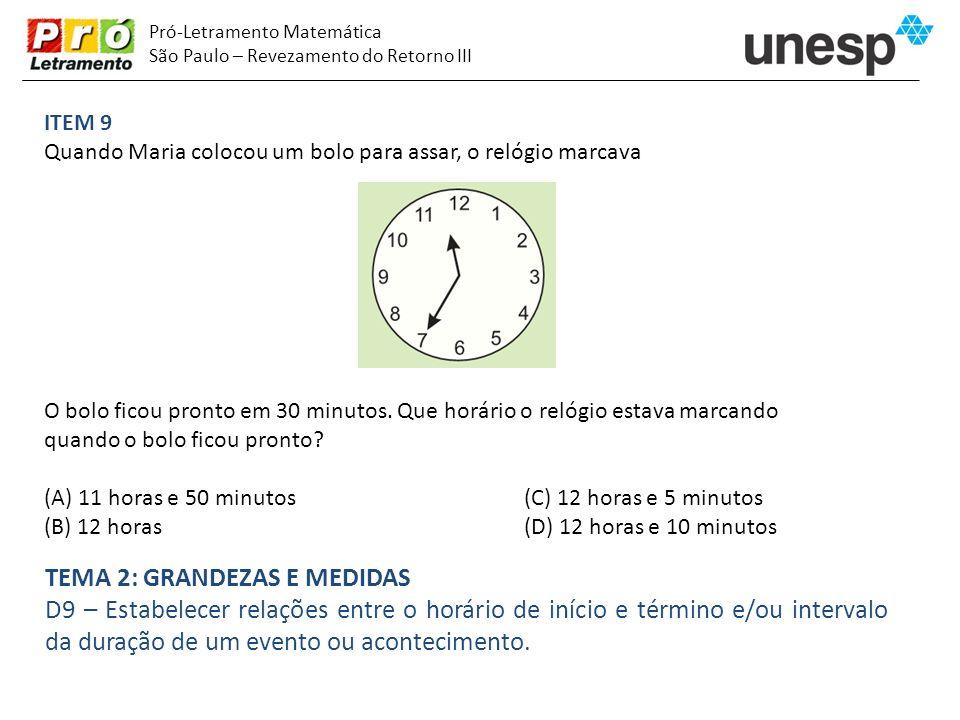 Pró-Letramento Matemática São Paulo – Revezamento do Retorno III ITEM 9 Quando Maria colocou um bolo para assar, o relógio marcava O bolo ficou pronto