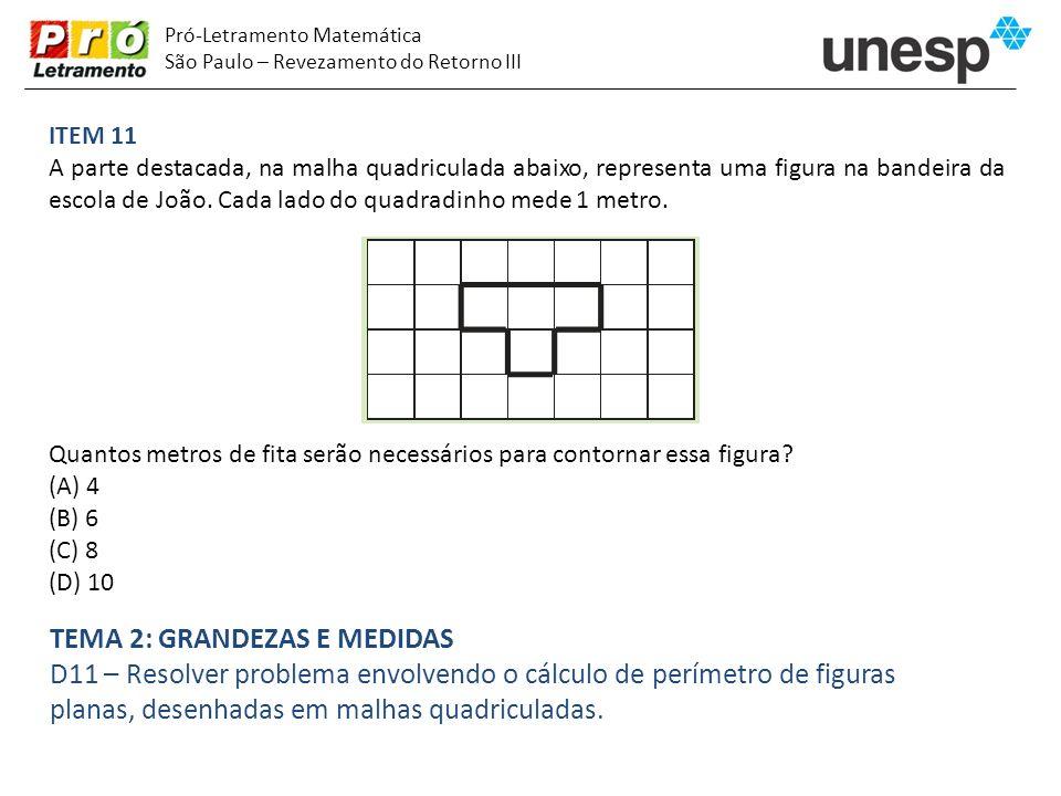 Pró-Letramento Matemática São Paulo – Revezamento do Retorno III ITEM 11 A parte destacada, na malha quadriculada abaixo, representa uma figura na ban