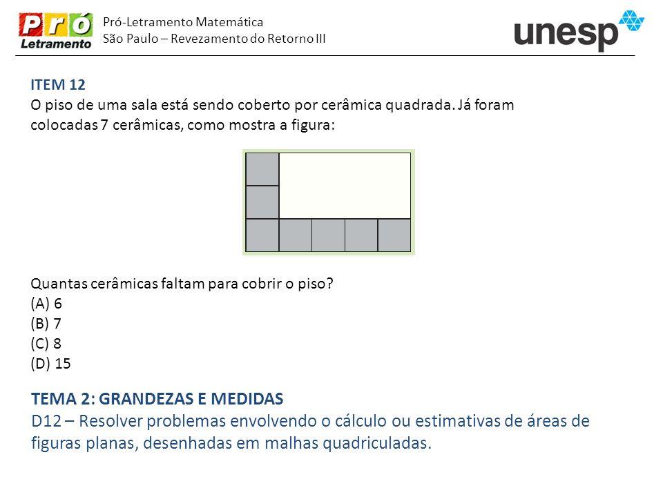 Pró-Letramento Matemática São Paulo – Revezamento do Retorno III ITEM 12 O piso de uma sala está sendo coberto por cerâmica quadrada. Já foram colocad