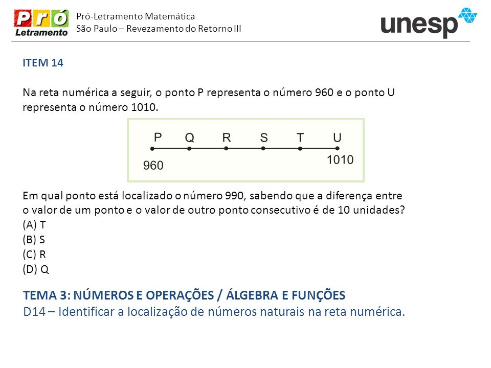 Pró-Letramento Matemática São Paulo – Revezamento do Retorno III ITEM 14 Na reta numérica a seguir, o ponto P representa o número 960 e o ponto U repr