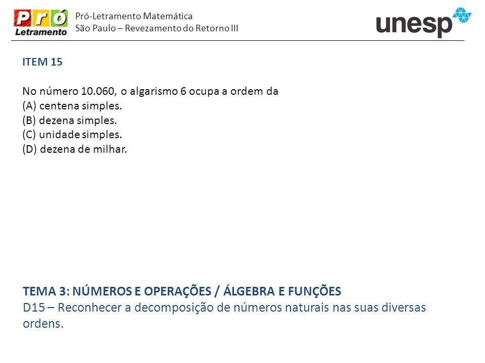 Pró-Letramento Matemática São Paulo – Revezamento do Retorno III ITEM 15 No número 10.060, o algarismo 6 ocupa a ordem da (A) centena simples. (B) dez