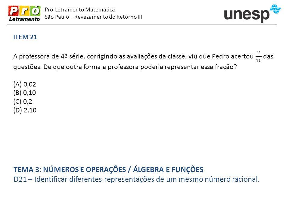 Pró-Letramento Matemática São Paulo – Revezamento do Retorno III TEMA 3: NÚMEROS E OPERAÇÕES / ÁLGEBRA E FUNÇÕES D21 – Identificar diferentes represen