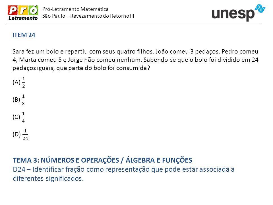 Pró-Letramento Matemática São Paulo – Revezamento do Retorno III TEMA 3: NÚMEROS E OPERAÇÕES / ÁLGEBRA E FUNÇÕES D24 – Identificar fração como represe