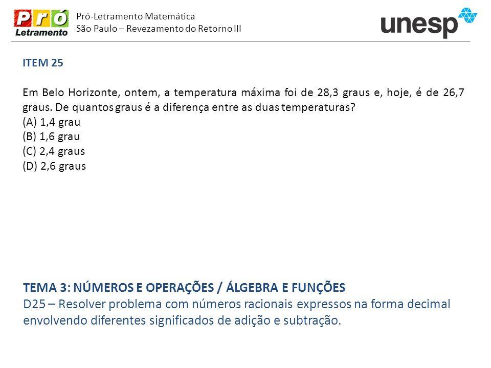 Pró-Letramento Matemática São Paulo – Revezamento do Retorno III ITEM 25 Em Belo Horizonte, ontem, a temperatura máxima foi de 28,3 graus e, hoje, é d