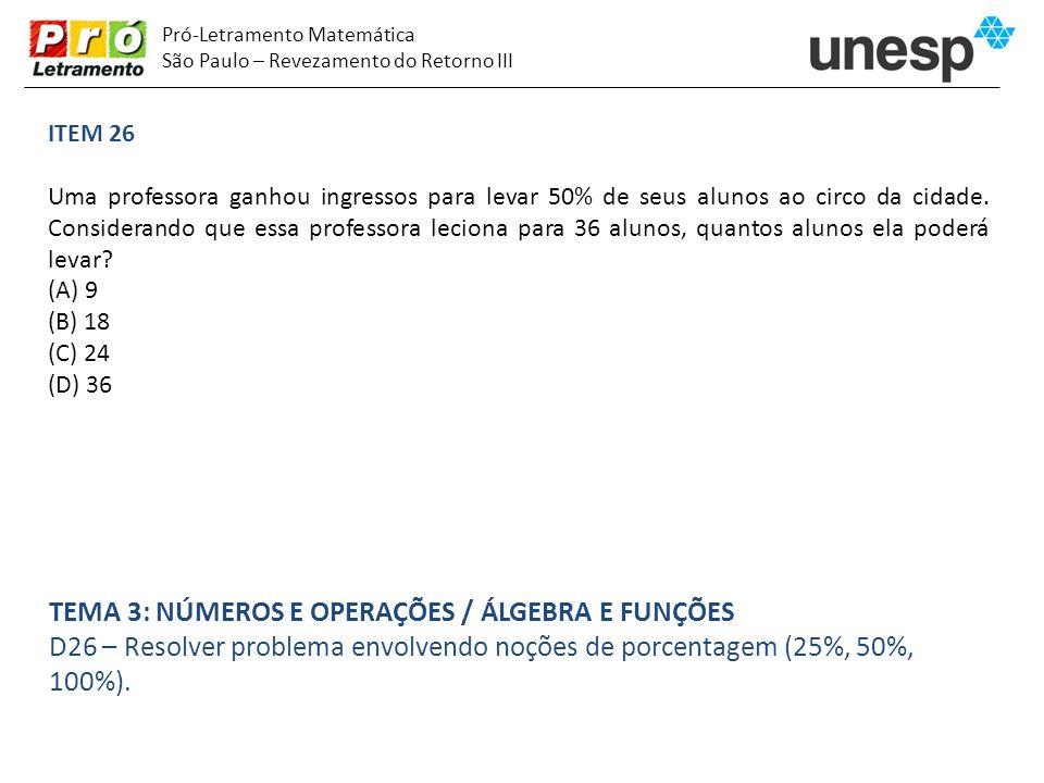 Pró-Letramento Matemática São Paulo – Revezamento do Retorno III ITEM 26 Uma professora ganhou ingressos para levar 50% de seus alunos ao circo da cid