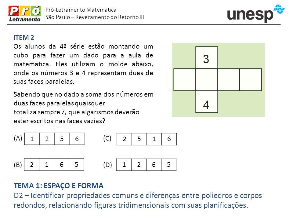 Pró-Letramento Matemática São Paulo – Revezamento do Retorno III ITEM 2 Os alunos da 4ª série estão montando um cubo para fazer um dado para a aula de