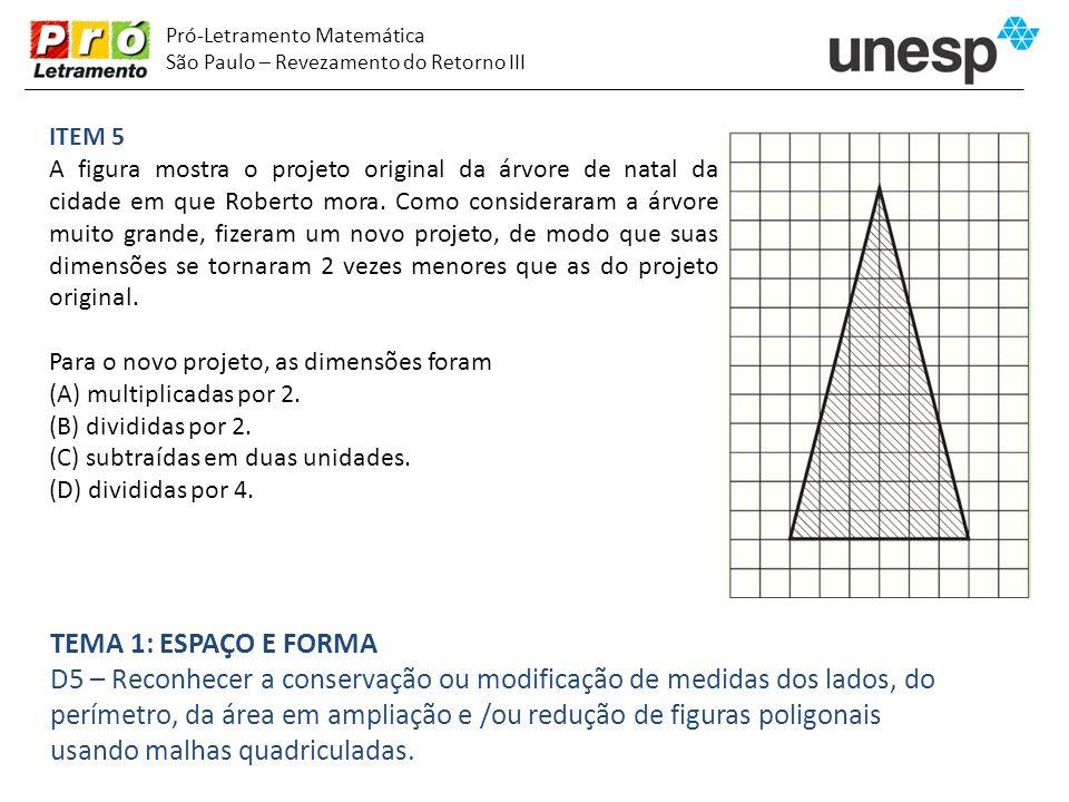 Pró-Letramento Matemática São Paulo – Revezamento do Retorno III ITEM 5 A figura mostra o projeto original da árvore de natal da cidade em que Roberto