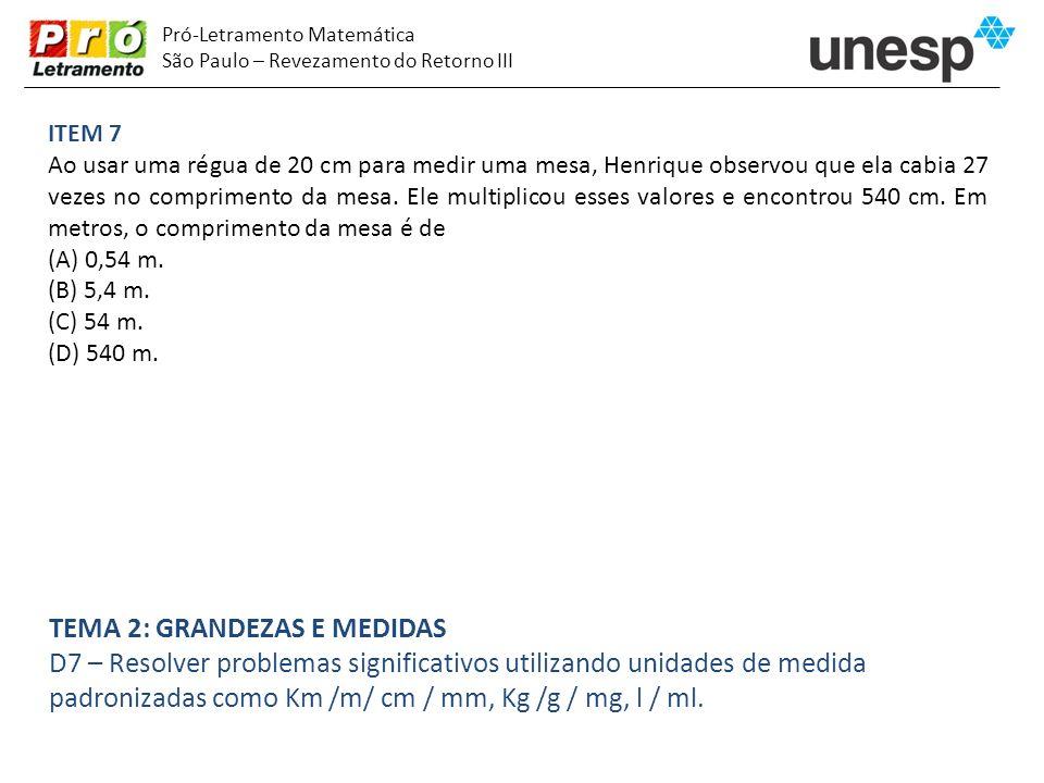 Pró-Letramento Matemática São Paulo – Revezamento do Retorno III ITEM 7 Ao usar uma régua de 20 cm para medir uma mesa, Henrique observou que ela cabi
