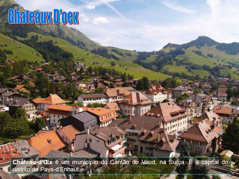 Château-d Œx é um município do Cantão do Vaud, na Suíça. É a capital do distrito de Pays-dEnhaut.