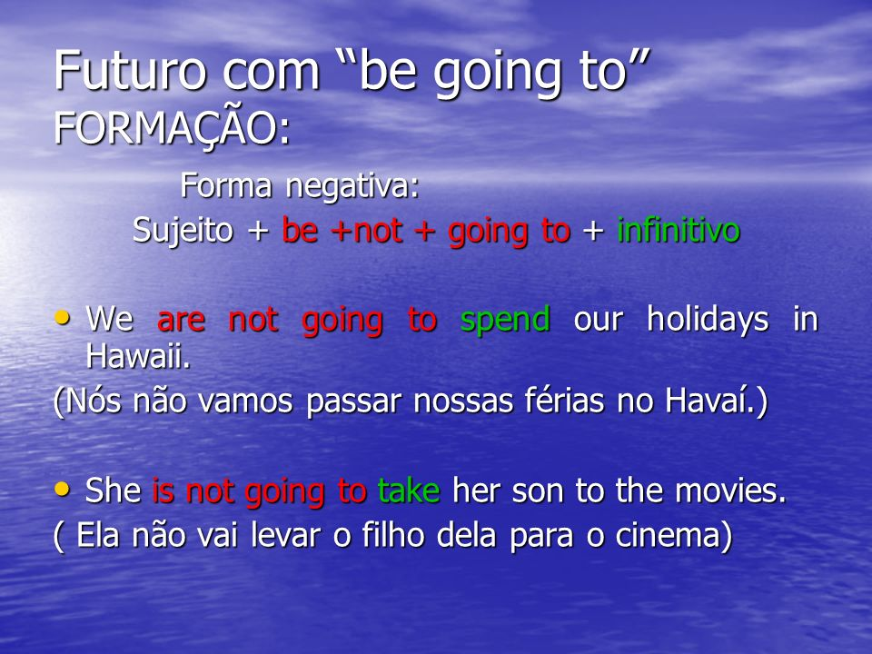 Futuro com be going to FORMAÇÃO: Forma negativa: Forma negativa: Sujeito + be +not + going to + infinitivo We are not going to spend our holidays in H