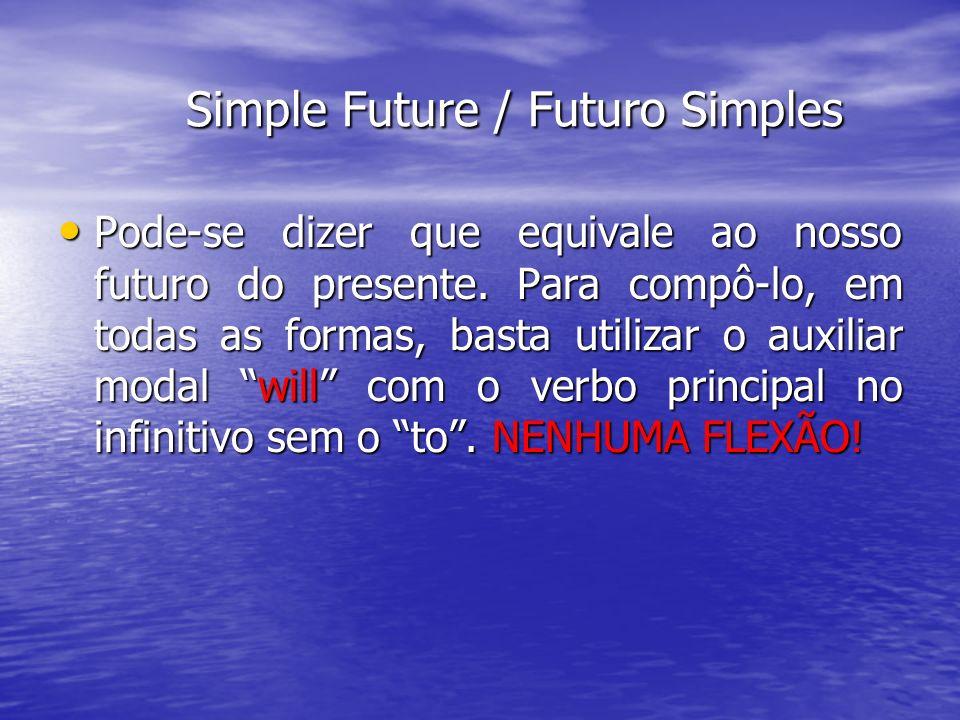 Simple Future / Futuro Simples Simple Future / Futuro Simples Pode-se dizer que equivale ao nosso futuro do presente. Para compô-lo, em todas as forma