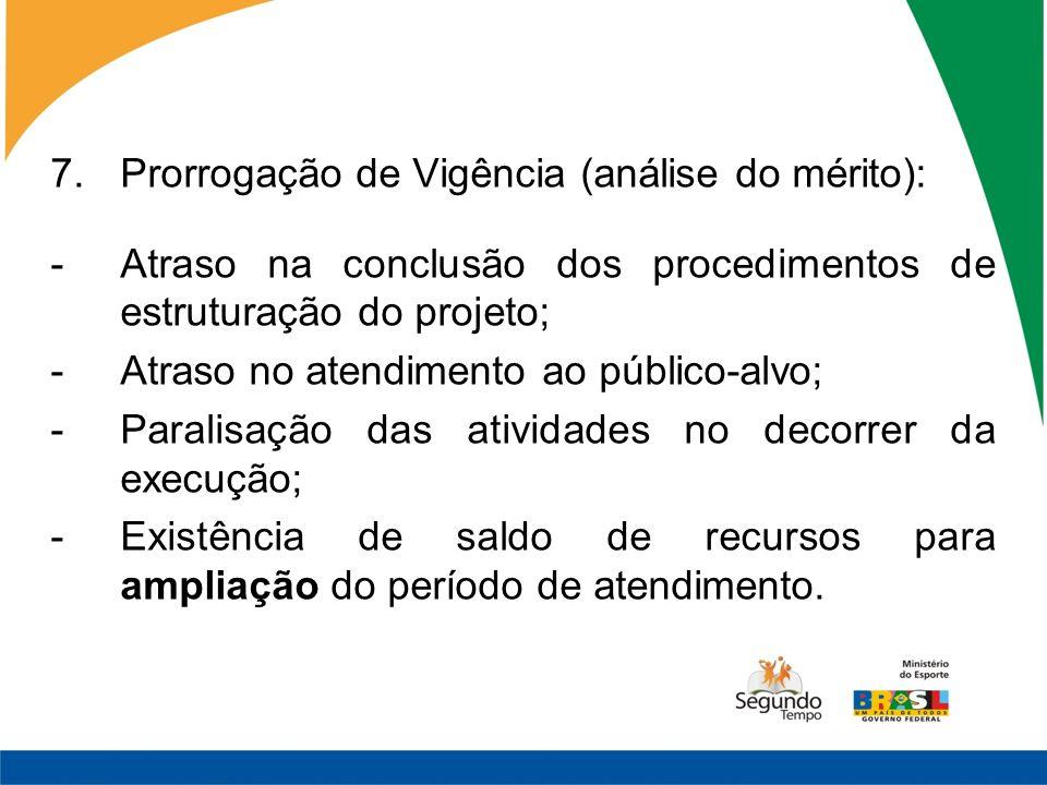 7.Prorrogação de Vigência (análise do mérito): -Atraso na conclusão dos procedimentos de estruturação do projeto; -Atraso no atendimento ao público-al