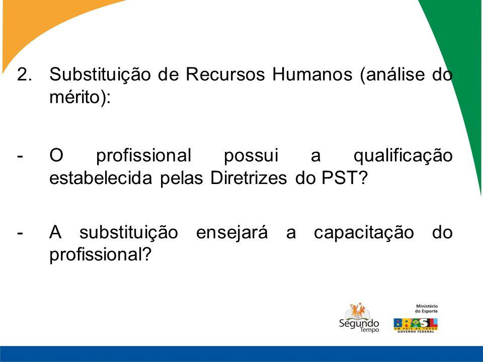 2.Substituição de Recursos Humanos (análise do mérito): -O profissional possui a qualificação estabelecida pelas Diretrizes do PST? -A substituição en