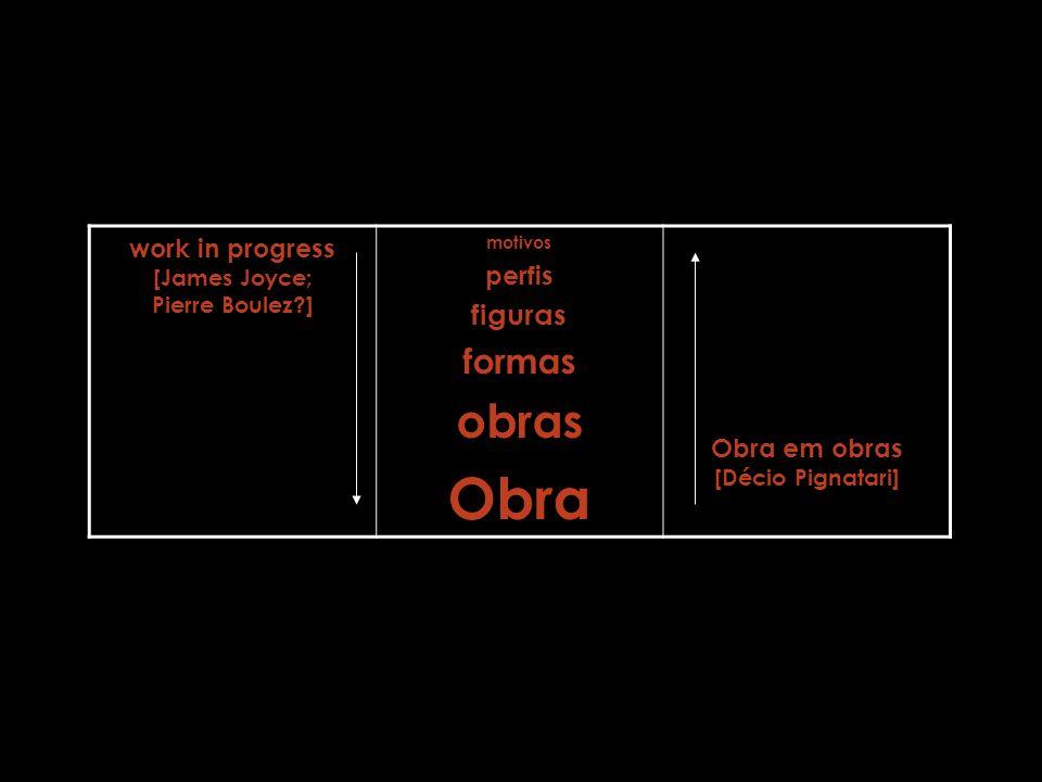 10 work in progress [James Joyce; Pierre Boulez?] motivos perfis figuras formas obras Obra Obra em obras [Décio Pignatari]