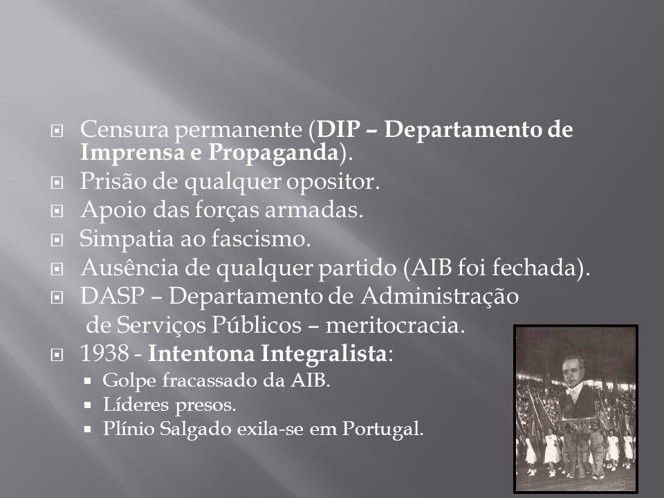 Censura permanente ( DIP – Departamento de Imprensa e Propaganda ). Prisão de qualquer opositor. Apoio das forças armadas. Simpatia ao fascismo. Ausên