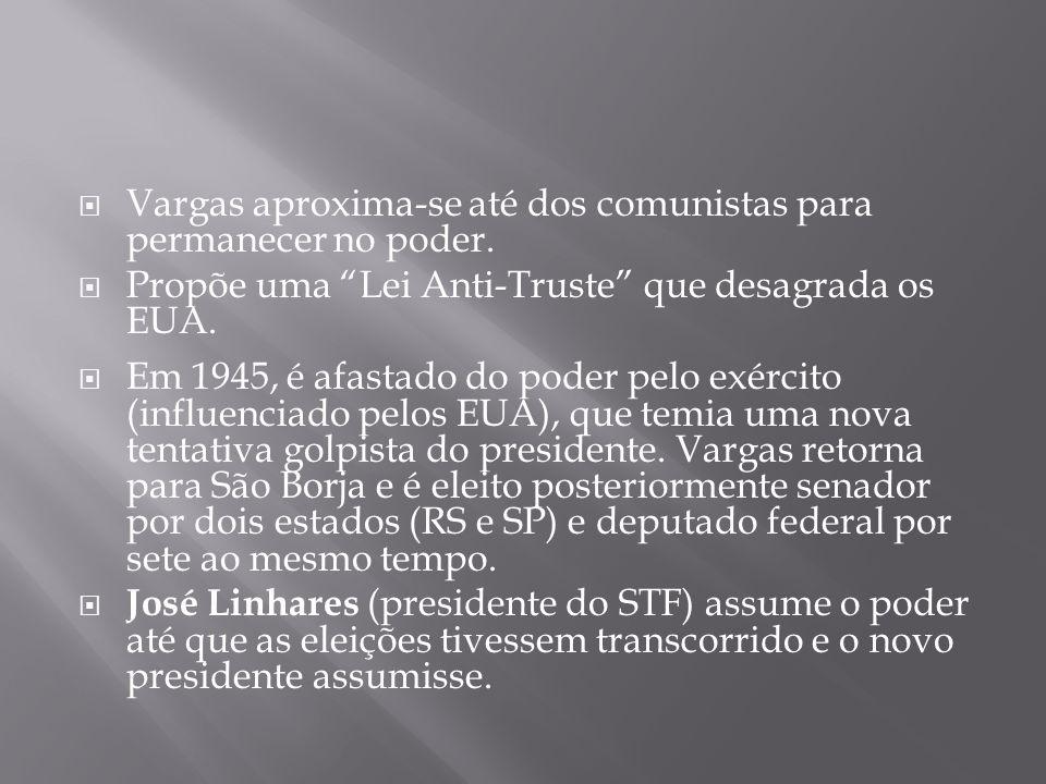 Vargas aproxima-se até dos comunistas para permanecer no poder. Propõe uma Lei Anti-Truste que desagrada os EUA. Em 1945, é afastado do poder pelo exé